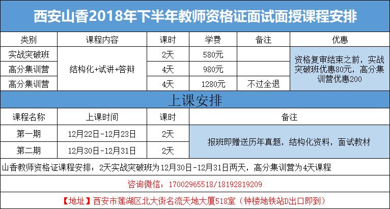 西安山香教育2019年教师资格证面试课程