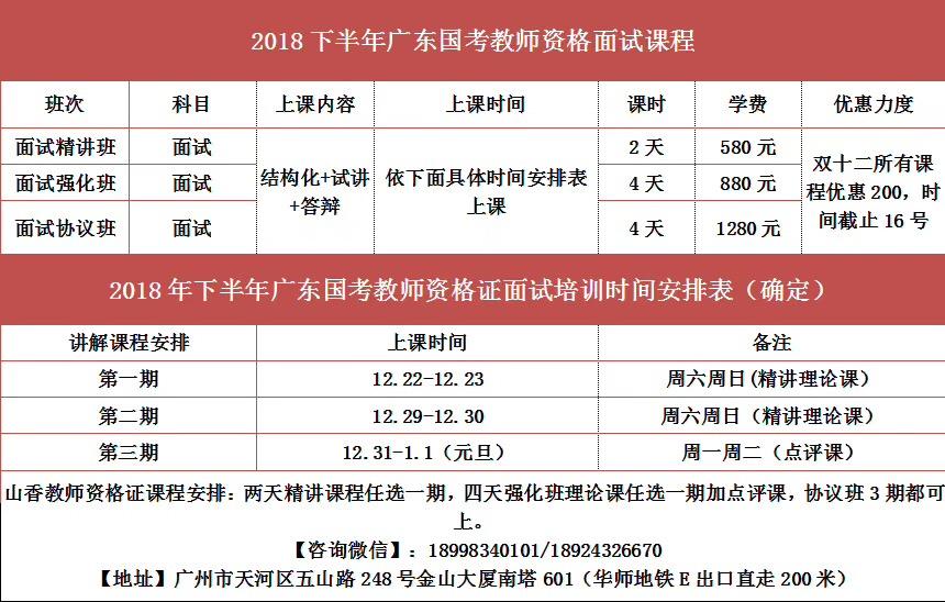 广州山香教育2019年教师资格证面试课程